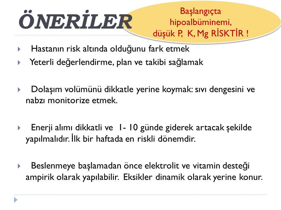 Başlangıçta hipoalbüminemi, düşük P, K, Mg R İ SKT İ R .