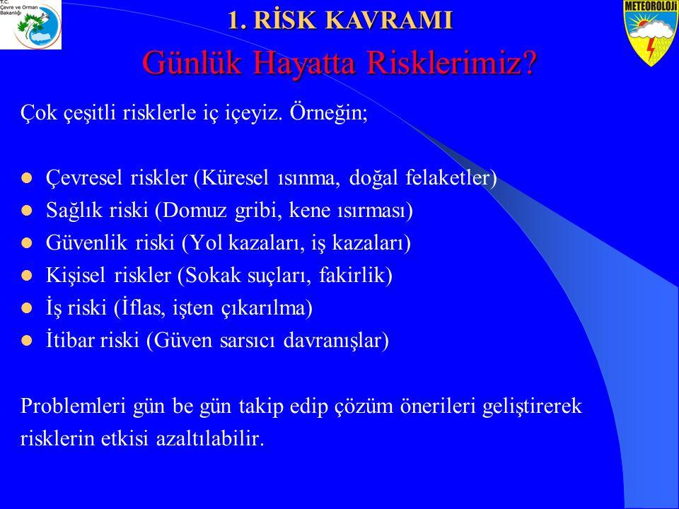 Çok çeşitli risklerle iç içeyiz. Örneğin; Çevresel riskler (Küresel ısınma, doğal felaketler) Sağlık riski (Domuz gribi, kene ısırması) Güvenlik riski