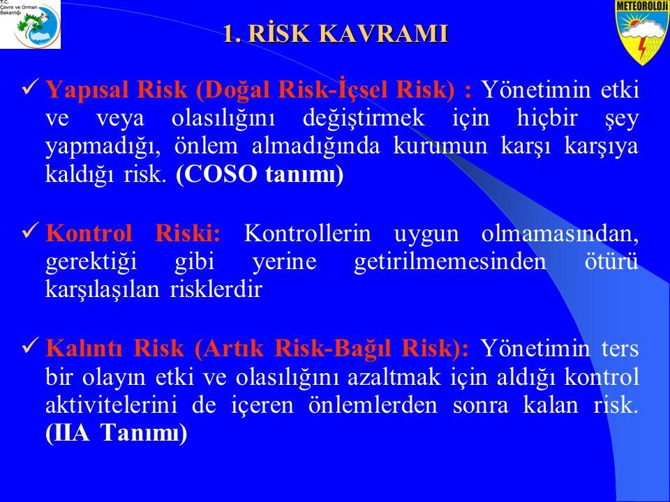 Yapısal Risk (Doğal Risk-İçsel Risk) : Yönetimin etki ve veya olasılığını değiştirmek için hiçbir şey yapmadığı, önlem almadığında kurumun karşı karşı