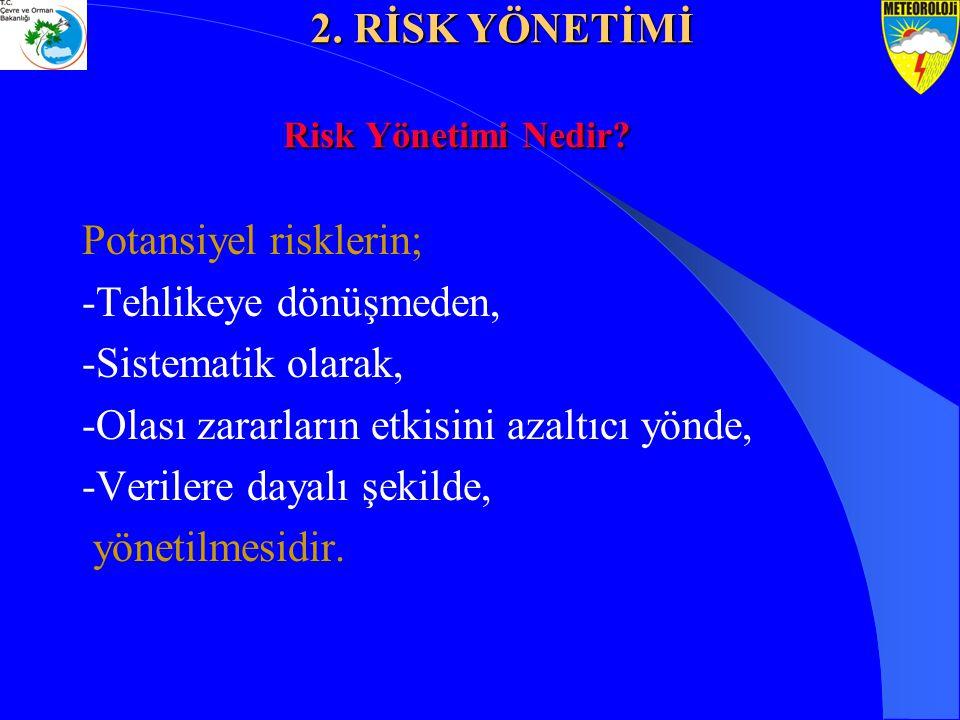 Potansiyel risklerin; -Tehlikeye dönüşmeden, -Sistematik olarak, -Olası zararların etkisini azaltıcı yönde, -Verilere dayalı şekilde, yönetilmesidir.