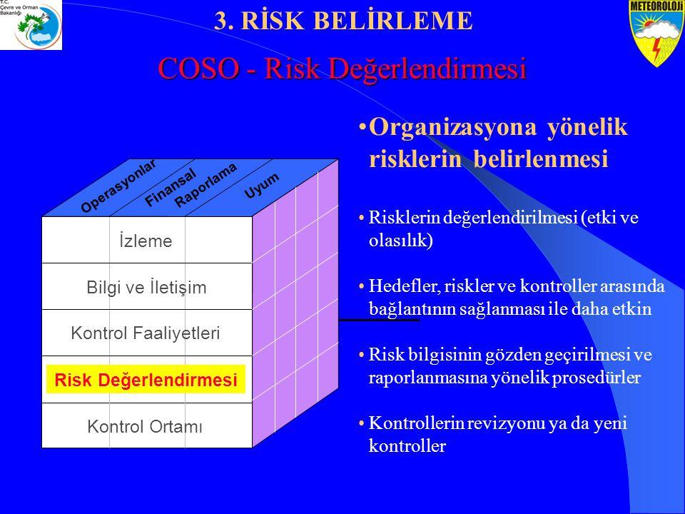 Organizasyona yönelik risklerin belirlenmesi Risklerin değerlendirilmesi (etki ve olasılık) Hedefler, riskler ve kontroller arasında bağlantının sağla