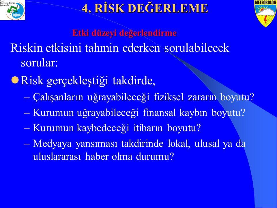 Riskin etkisini tahmin ederken sorulabilecek sorular: Risk gerçekleştiği takdirde, –Çalışanların uğrayabileceği fiziksel zararın boyutu? –Kurumun uğra
