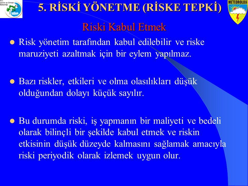 Riski Kabul Etmek Risk yönetim tarafından kabul edilebilir ve riske maruziyeti azaltmak için bir eylem yapılmaz. Bazı riskler, etkileri ve olma olasıl
