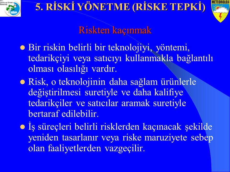 Riskten kaçınmak Bir riskin belirli bir teknolojiyi, yöntemi, tedarikçiyi veya satıcıyı kullanmakla bağlantılı olması olasılığı vardır. Risk, o teknol