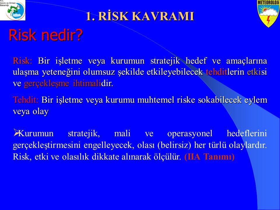Risk: Bir işletme veya kurumun stratejik hedef ve amaçlarına ulaşma yeteneğini olumsuz şekilde etkileyebilecek tehditlerin etkisi ve gerçekleşme ihtim