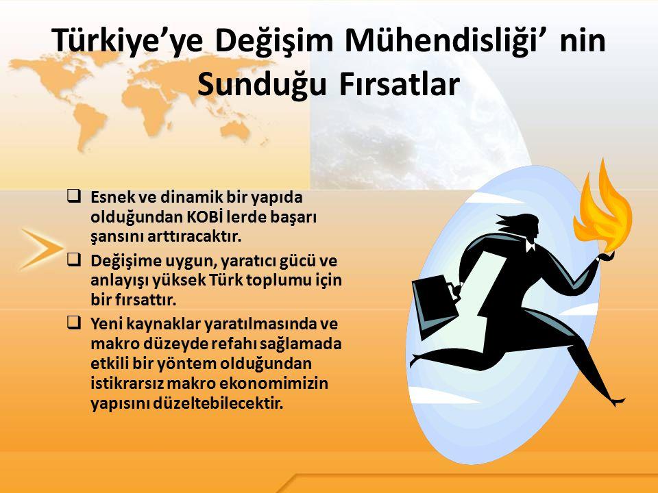 Türkiye'ye Değişim Mühendisliği' nin Sunduğu Fırsatlar  Esnek ve dinamik bir yapıda olduğundan KOBİ lerde başarı şansını arttıracaktır.  Değişime uy