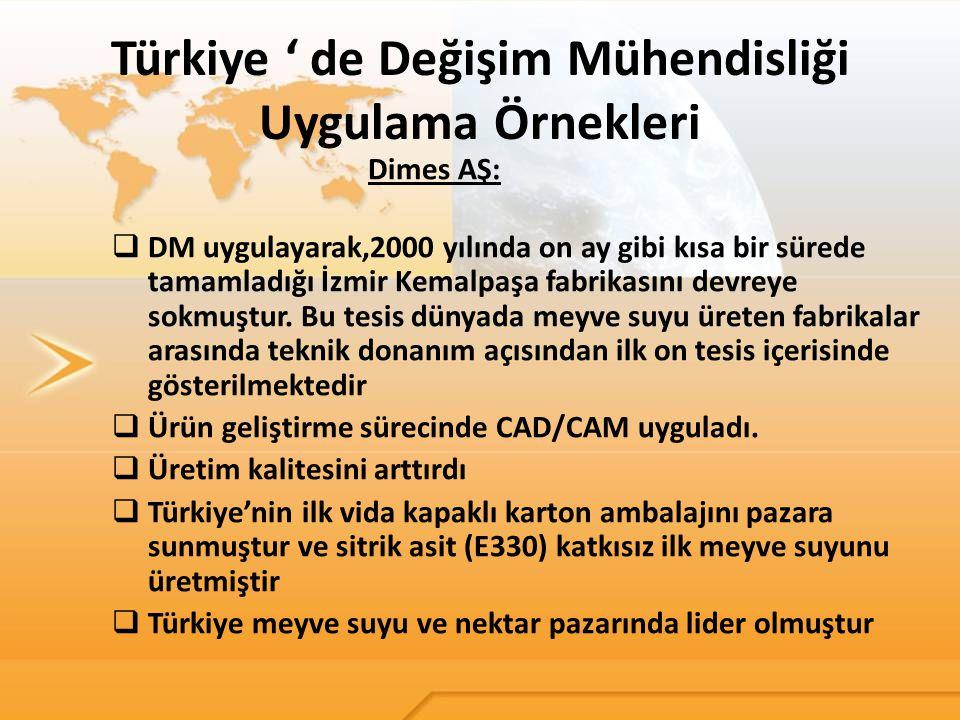 Türkiye ' de Değişim Mühendisliği Uygulama Örnekleri Dimes AŞ:  DM uygulayarak,2000 yılında on ay gibi kısa bir sürede tamamladığı İzmir Kemalpaşa fa