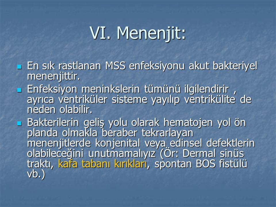 VI. Menenjit: En sık rastlanan MSS enfeksiyonu akut bakteriyel menenjittir. En sık rastlanan MSS enfeksiyonu akut bakteriyel menenjittir. Enfeksiyon m