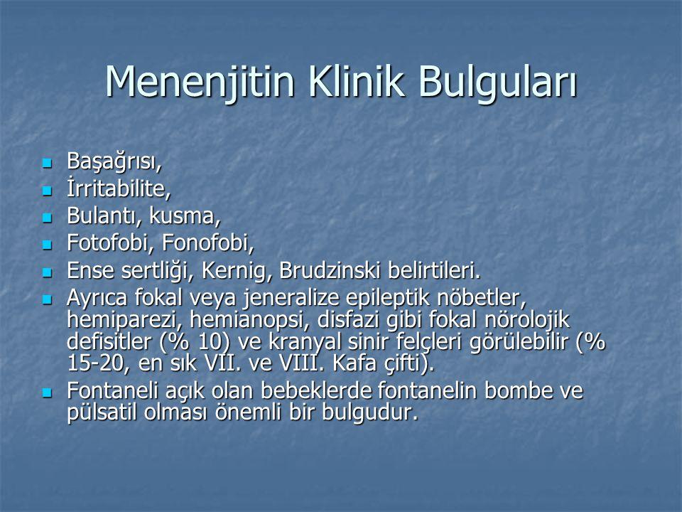 Menenjitin Klinik Bulguları Başağrısı, Başağrısı, İrritabilite, İrritabilite, Bulantı, kusma, Bulantı, kusma, Fotofobi, Fonofobi, Fotofobi, Fonofobi,