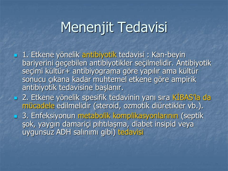 Menenjit Tedavisi 1. Etkene yönelik antibiyotik tedavisi : Kan-beyin bariyerini geçebilen antibiyotikler seçilmelidir. Antibiyotik seçimi kültür+ anti