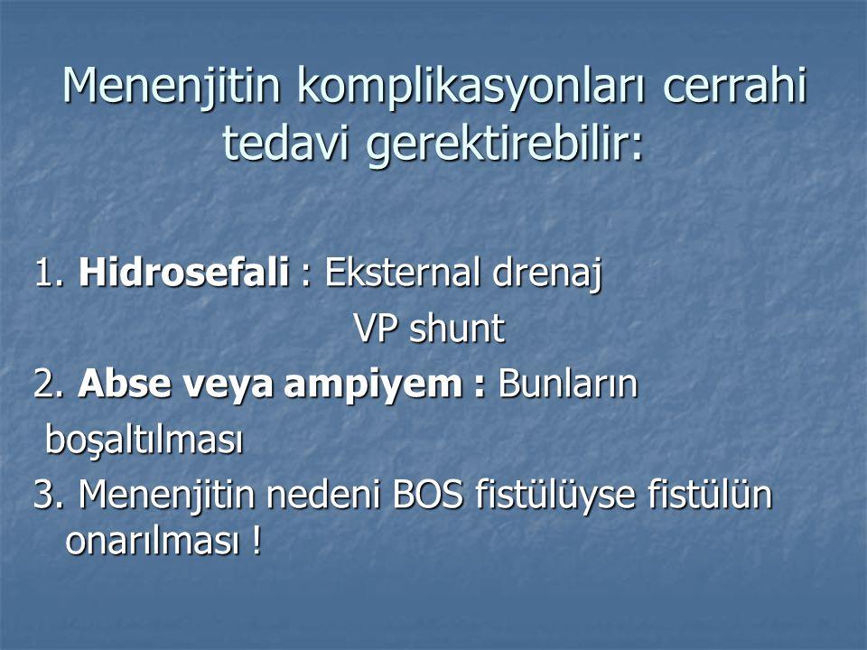 Menenjitin komplikasyonları cerrahi tedavi gerektirebilir: 1. Hidrosefali : Eksternal drenaj VP shunt VP shunt 2. Abse veya ampiyem : Bunların boşaltı