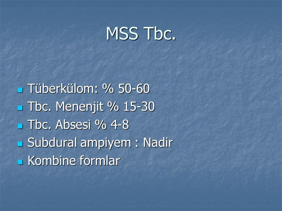 MSS Tbc. Tüberkülom: % 50-60 Tüberkülom: % 50-60 Tbc. Menenjit % 15-30 Tbc. Menenjit % 15-30 Tbc. Absesi % 4-8 Tbc. Absesi % 4-8 Subdural ampiyem : Na