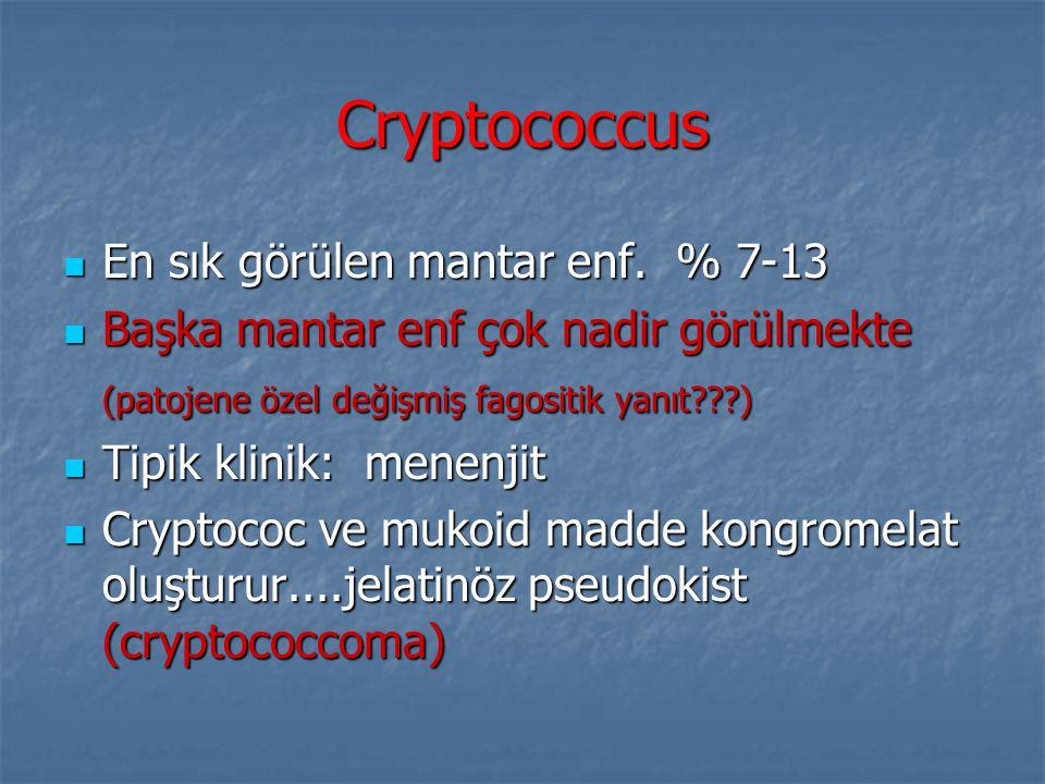 Cryptococcus En sık görülen mantar enf. % 7-13 En sık görülen mantar enf. % 7-13 Başka mantar enf çok nadir görülmekte Başka mantar enf çok nadir görü