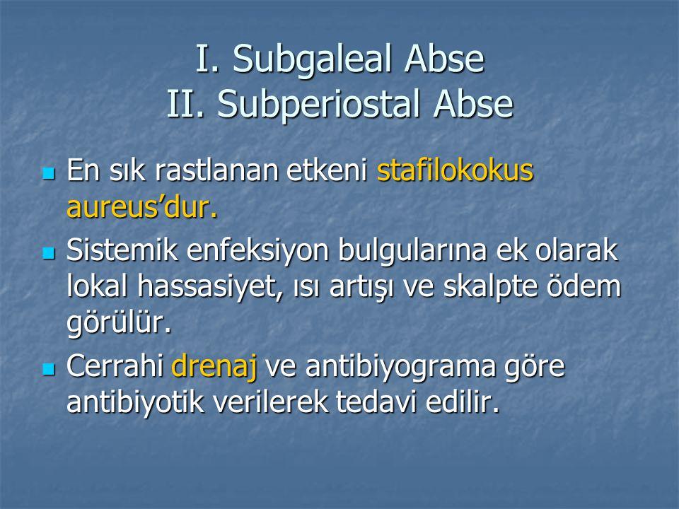 I. Subgaleal Abse II. Subperiostal Abse En sık rastlanan etkeni stafilokokus aureus'dur. En sık rastlanan etkeni stafilokokus aureus'dur. Sistemik enf