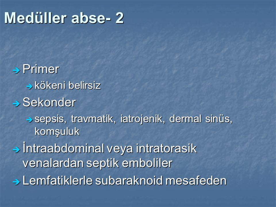 Medüller abse- 2  Primer  kökeni belirsiz  Sekonder  sepsis, travmatik, iatrojenik, dermal sinüs, komşuluk  İntraabdominal veya intratorasik vena