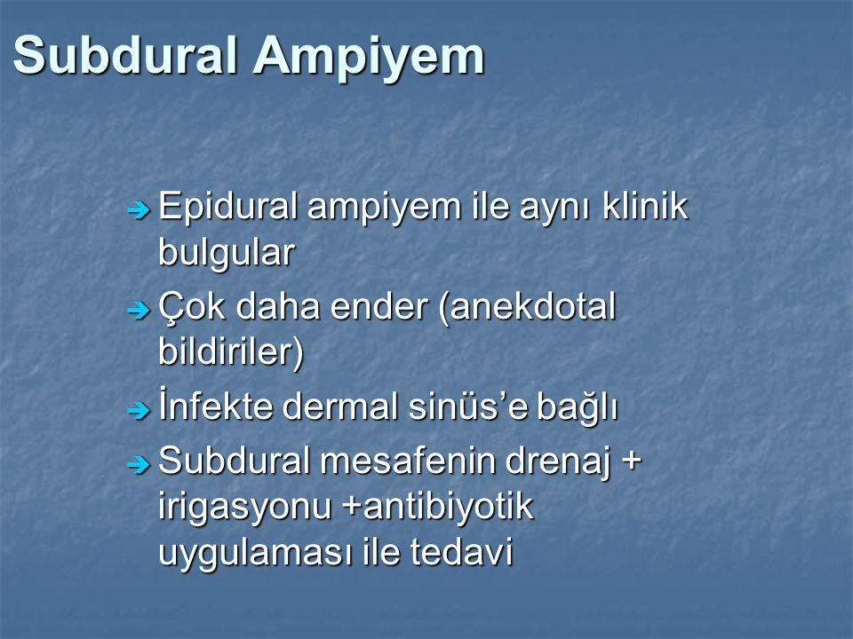 Subdural Ampiyem  Epidural ampiyem ile aynı klinik bulgular  Çok daha ender (anekdotal bildiriler)  İnfekte dermal sinüs'e bağlı  Subdural mesafen