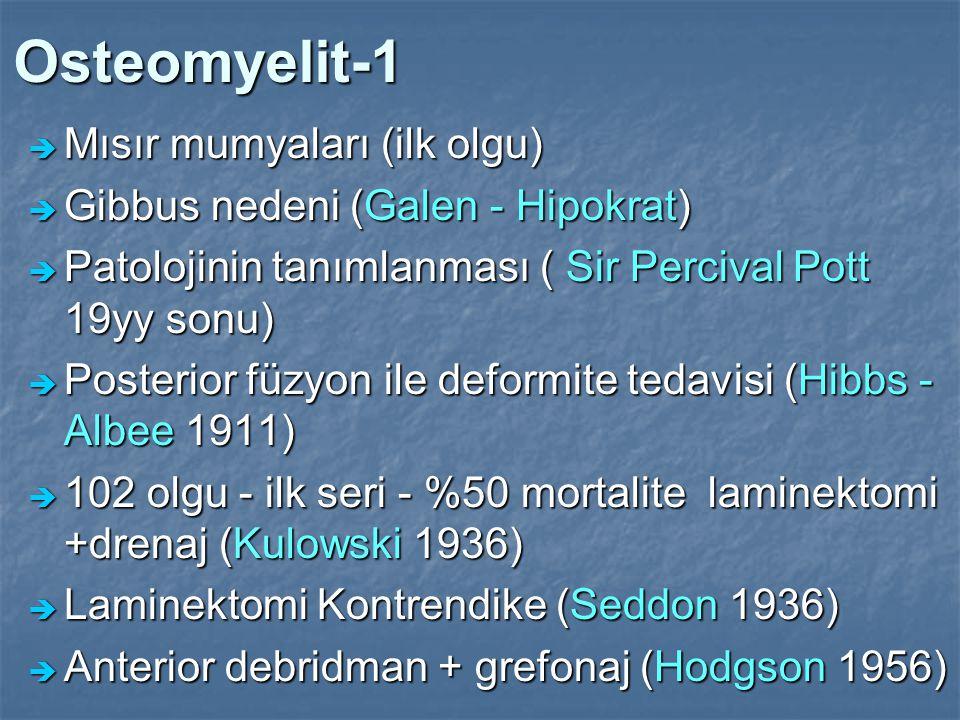 Osteomyelit-1  Mısır mumyaları (ilk olgu)  Gibbus nedeni (Galen - Hipokrat)  Patolojinin tanımlanması ( Sir Percival Pott 19yy sonu)  Posterior fü