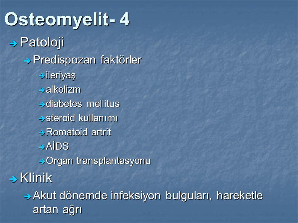 Osteomyelit- 4  Patoloji  Predispozan faktörler  ileriyaş  alkolizm  diabetes mellitus  steroid kullanımı  Romatoid artrit  AİDS  Organ trans