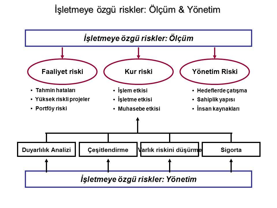 İşletmeye özgü riskler: Ölçüm & Yönetim İşletmeye özgü riskler: Ölçüm İşletmeye özgü riskler: Yönetim Kur riskiYönetim RiskiFaaliyet riski Tahmin hata