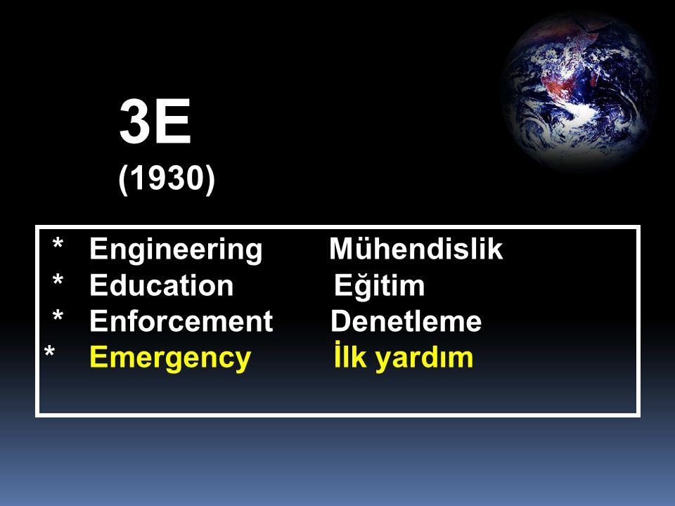 3E (1930) * Engineering Mühendislik * Education Eğitim * Enforcement Denetleme * Emergency İlk yardım