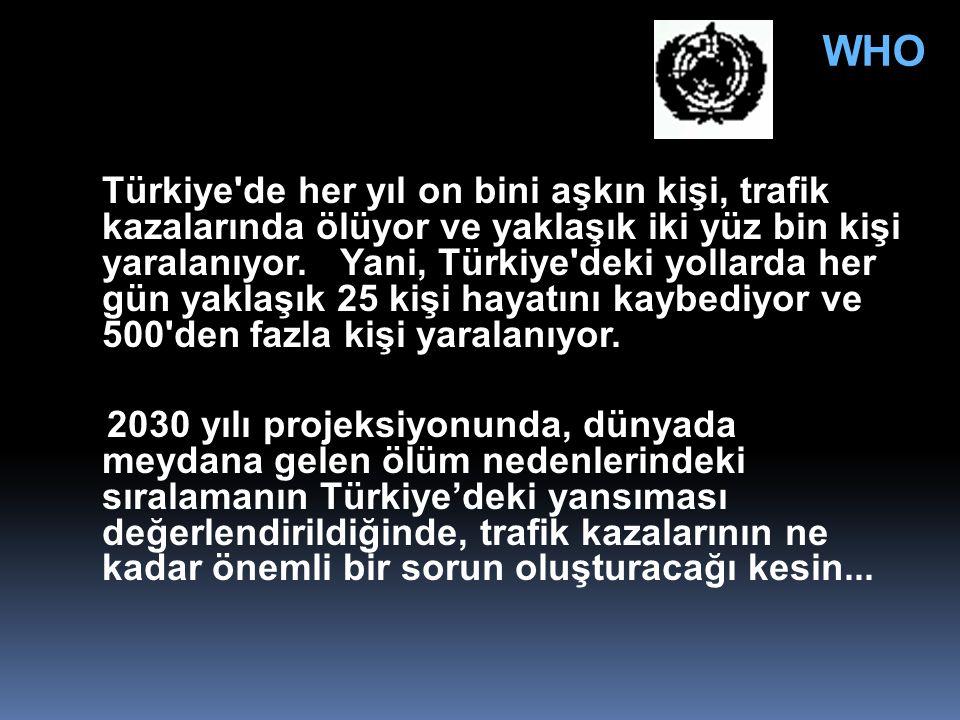 Türkiye'de her yıl on bini aşkın kişi, trafik kazalarında ölüyor ve yaklaşık iki yüz bin kişi yaralanıyor. Yani, Türkiye'deki yollarda her gün yaklaşı