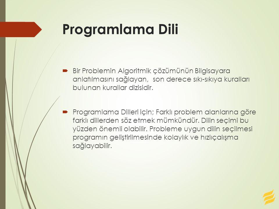 Programlama Dili  Bir Problemin Algoritmik çözümünün Bilgisayara anlatılmasını sağlayan, son derece sıkı-sıkıya kuralları bulunan kurallar dizisidir.