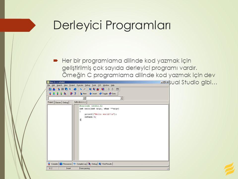 Derleyici Programları  Her bir programlama dilinde kod yazmak için geliştirilmiş çok sayıda derleyici programı vardır.