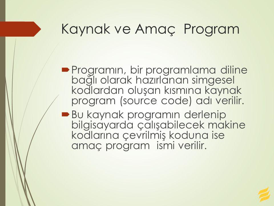 Kaynak ve Amaç Program  Programın, bir programlama diline bağlı olarak hazırlanan simgesel kodlardan oluşan kısmına kaynak program (source code) adı verilir.