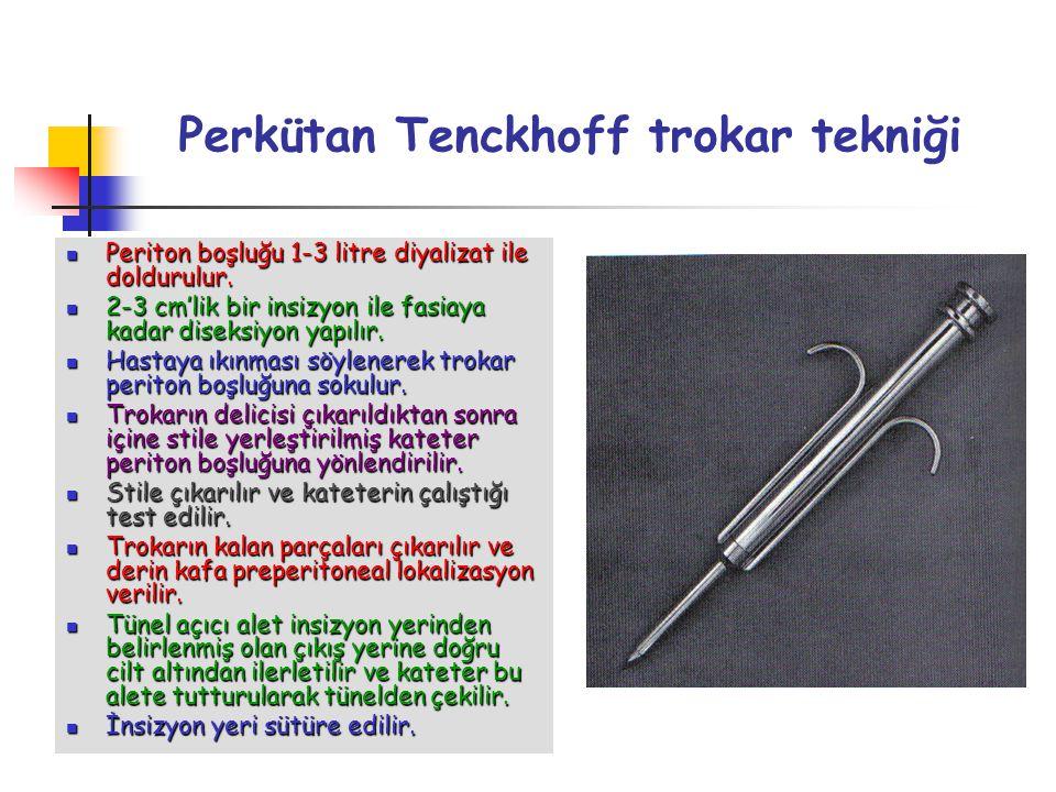 Perkütan Tenckhoff trokar tekniği Periton boşluğu 1-3 litre diyalizat ile doldurulur. Periton boşluğu 1-3 litre diyalizat ile doldurulur. 2-3 cm'lik b