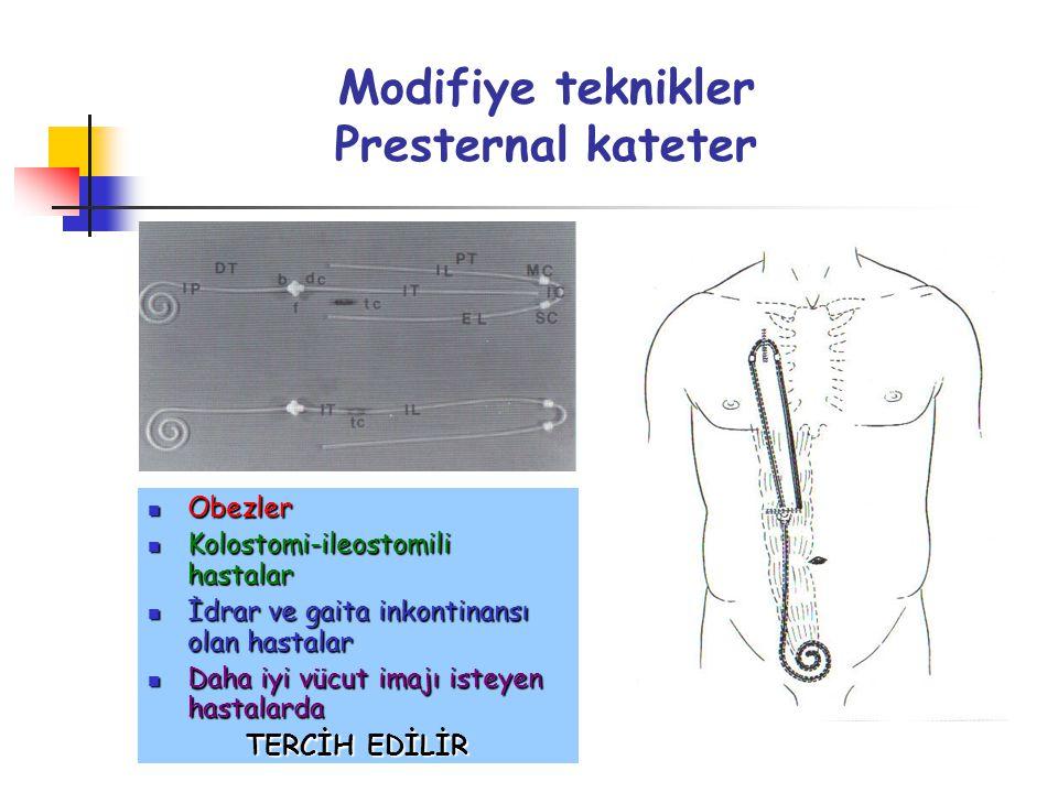 Modifiye teknikler Presternal kateter Obezler Obezler Kolostomi-ileostomili hastalar Kolostomi-ileostomili hastalar İdrar ve gaita inkontinansı olan h
