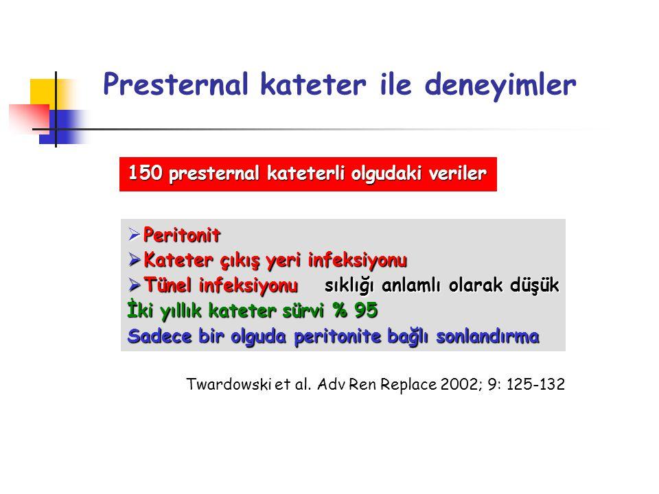 Presternal kateter ile deneyimler 150 presternal kateterli olgudaki veriler  Peritonit  Kateter çıkış yeri infeksiyonu  Tünel infeksiyonusıklığı an
