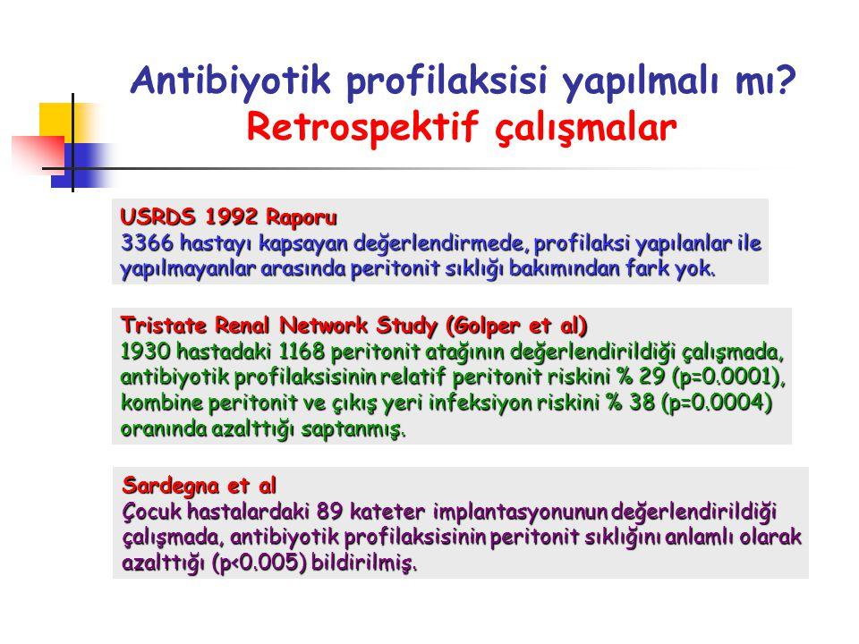 Antibiyotik profilaksisi yapılmalı mı? Retrospektif çalışmalar USRDS 1992 Raporu 3366 hastayı kapsayan değerlendirmede, profilaksi yapılanlar ile yapı