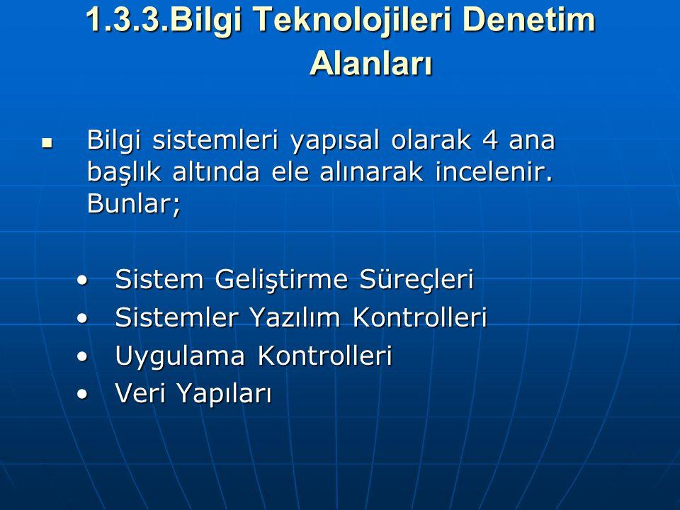 1.3.3.Bilgi Teknolojileri Denetim Alanları Bilgi sistemleri yapısal olarak 4 ana başlık altında ele alınarak incelenir. Bunlar; Bilgi sistemleri yapıs