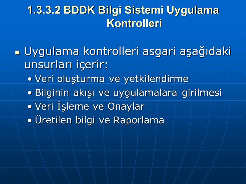 1.3.3.2 BDDK Bilgi Sistemi Uygulama Kontrolleri Uygulama kontrolleri asgari aşağıdaki unsurları içerir: Uygulama kontrolleri asgari aşağıdaki unsurlar