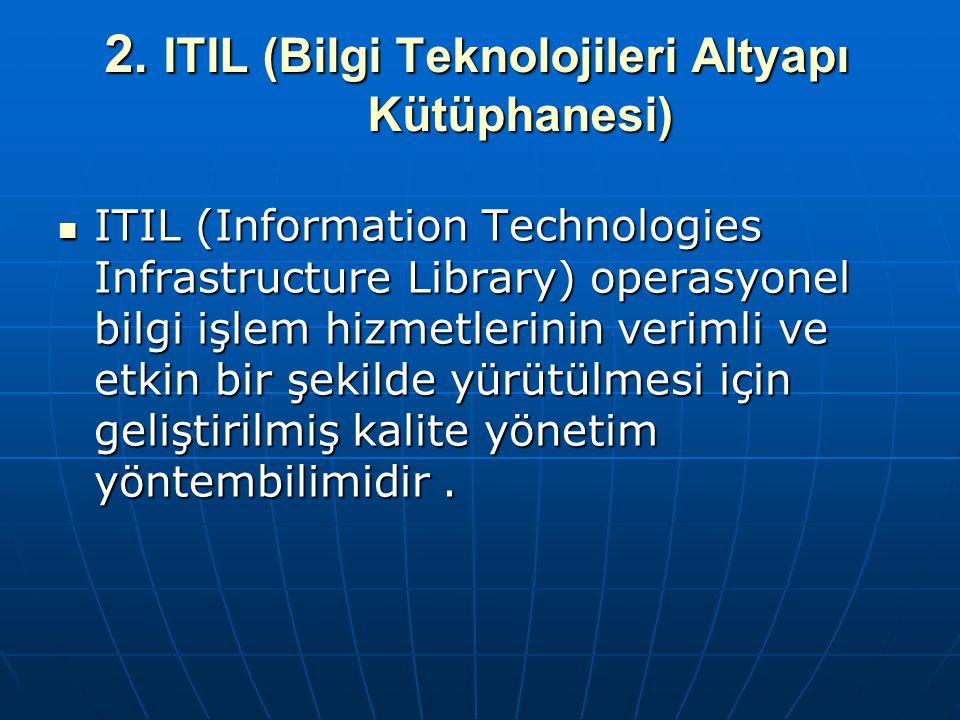 2. ITIL (Bilgi Teknolojileri Altyapı Kütüphanesi) ITIL (Information Technologies Infrastructure Library) operasyonel bilgi işlem hizmetlerinin verimli