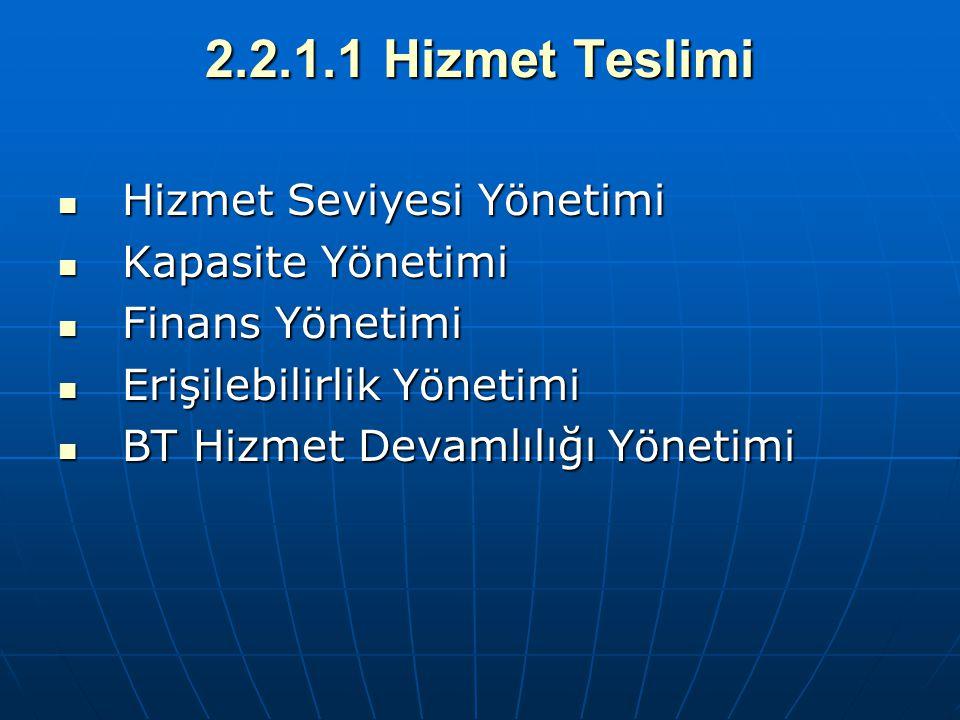2.2.1.1 Hizmet Teslimi Hizmet Seviyesi Yönetimi Hizmet Seviyesi Yönetimi Kapasite Yönetimi Kapasite Yönetimi Finans Yönetimi Finans Yönetimi Erişilebi