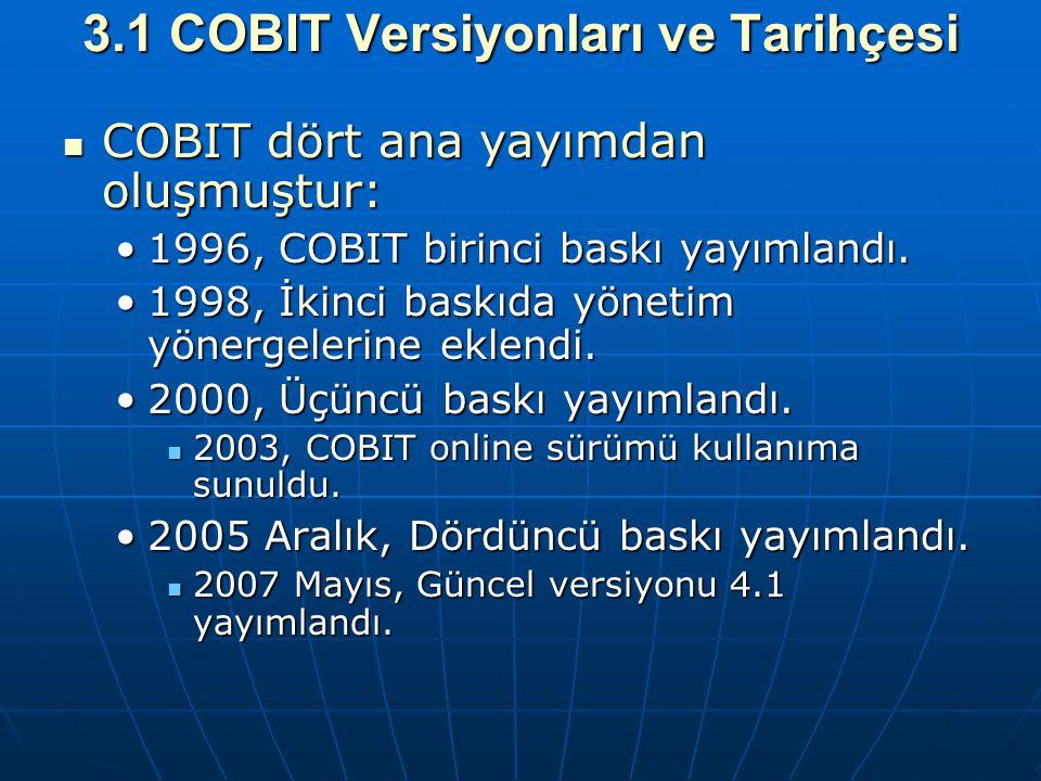 3.1 COBIT Versiyonları ve Tarihçesi COBIT dört ana yayımdan oluşmuştur: COBIT dört ana yayımdan oluşmuştur: 1996, COBIT birinci baskı yayımlandı.1996,