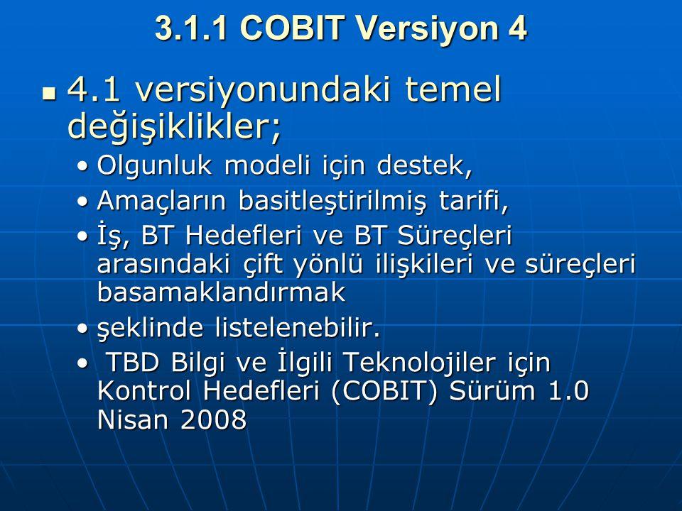 3.1.1 COBIT Versiyon 4 4.1 versiyonundaki temel değişiklikler; 4.1 versiyonundaki temel değişiklikler; Olgunluk modeli için destek,Olgunluk modeli içi