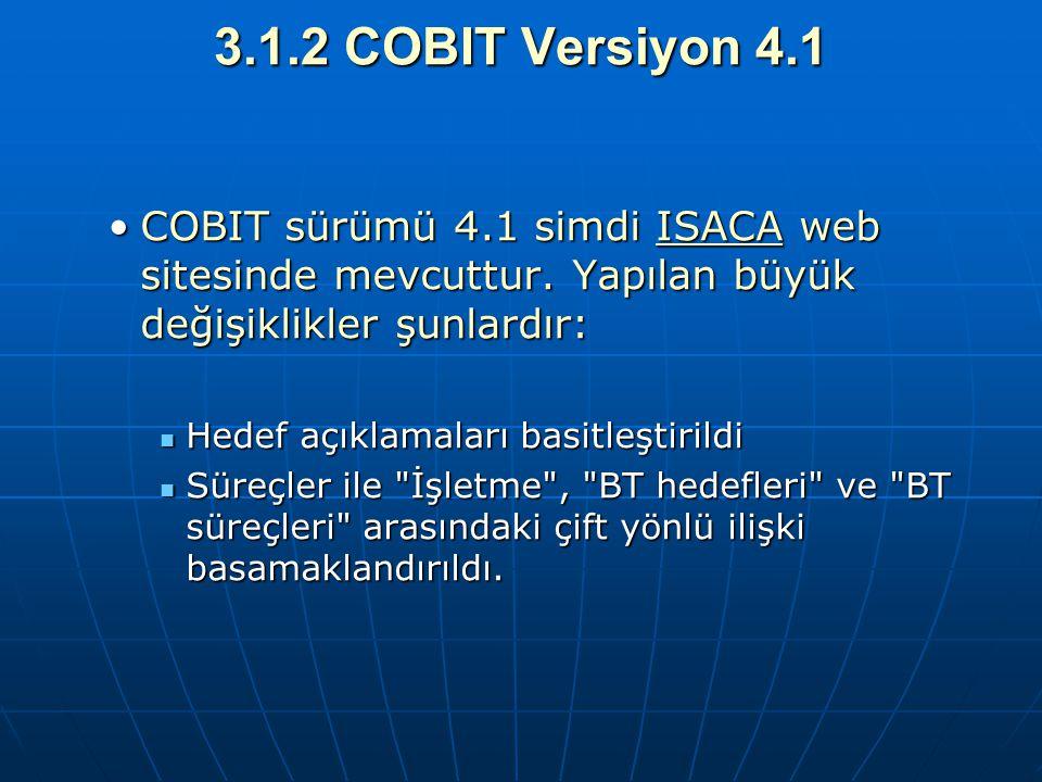 3.1.2 COBIT Versiyon 4.1 COBIT sürümü 4.1 simdi ISACA web sitesinde mevcuttur. Yapılan büyük değişiklikler şunlardır:COBIT sürümü 4.1 simdi ISACA web