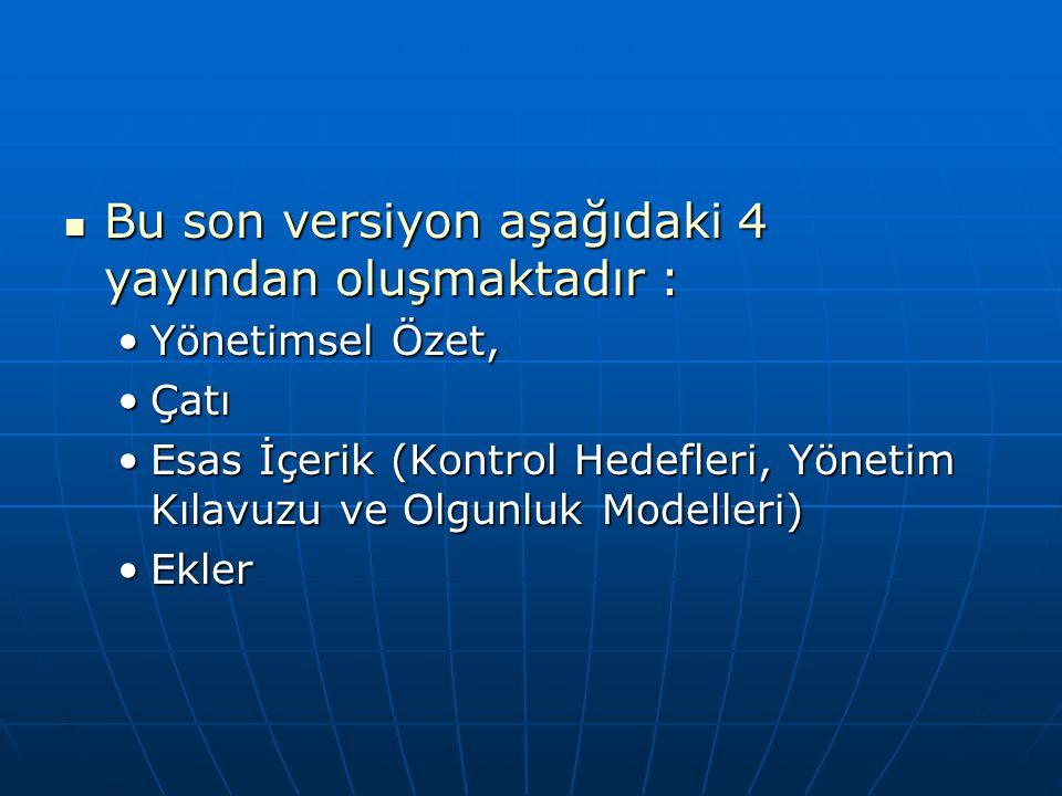 Bu son versiyon aşağıdaki 4 yayından oluşmaktadır : Bu son versiyon aşağıdaki 4 yayından oluşmaktadır : Yönetimsel Özet,Yönetimsel Özet, ÇatıÇatı Esas