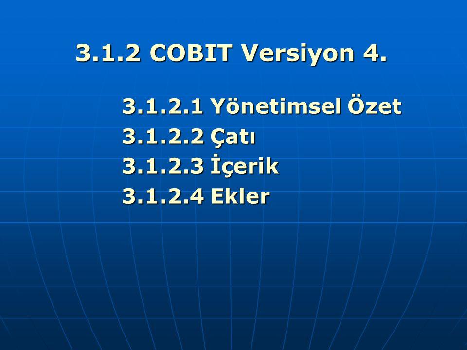 3.1.2 COBIT Versiyon 4. 3.1.2.1 Yönetimsel Özet 3.1.2.2 Çatı 3.1.2.3 İçerik 3.1.2.4 Ekler