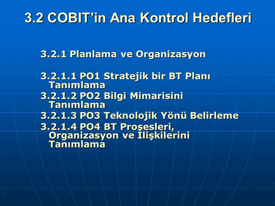 3.2 COBIT'in Ana Kontrol Hedefleri 3.2.1 Planlama ve Organizasyon 3.2.1 Planlama ve Organizasyon 3.2.1.1 PO1 Stratejik bir BT Planı Tanımlama 3.2.1.1