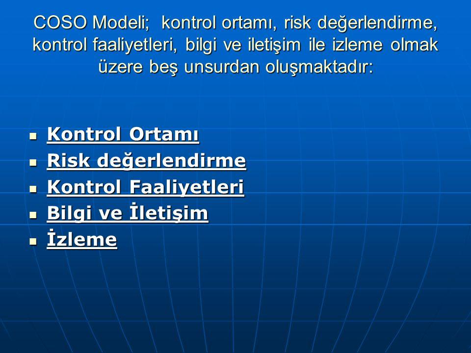 COSO Modeli; kontrol ortamı, risk değerlendirme, kontrol faaliyetleri, bilgi ve iletişim ile izleme olmak üzere beş unsurdan oluşmaktadır: Kontrol Ort