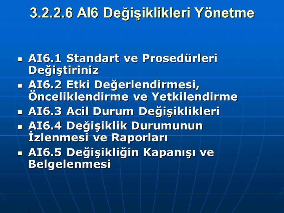 3.2.2.6 AI6 Değişiklikleri Yönetme AI6.1 Standart ve Prosedürleri Değiştiriniz AI6.1 Standart ve Prosedürleri Değiştiriniz AI6.2 Etki Değerlendirmesi,