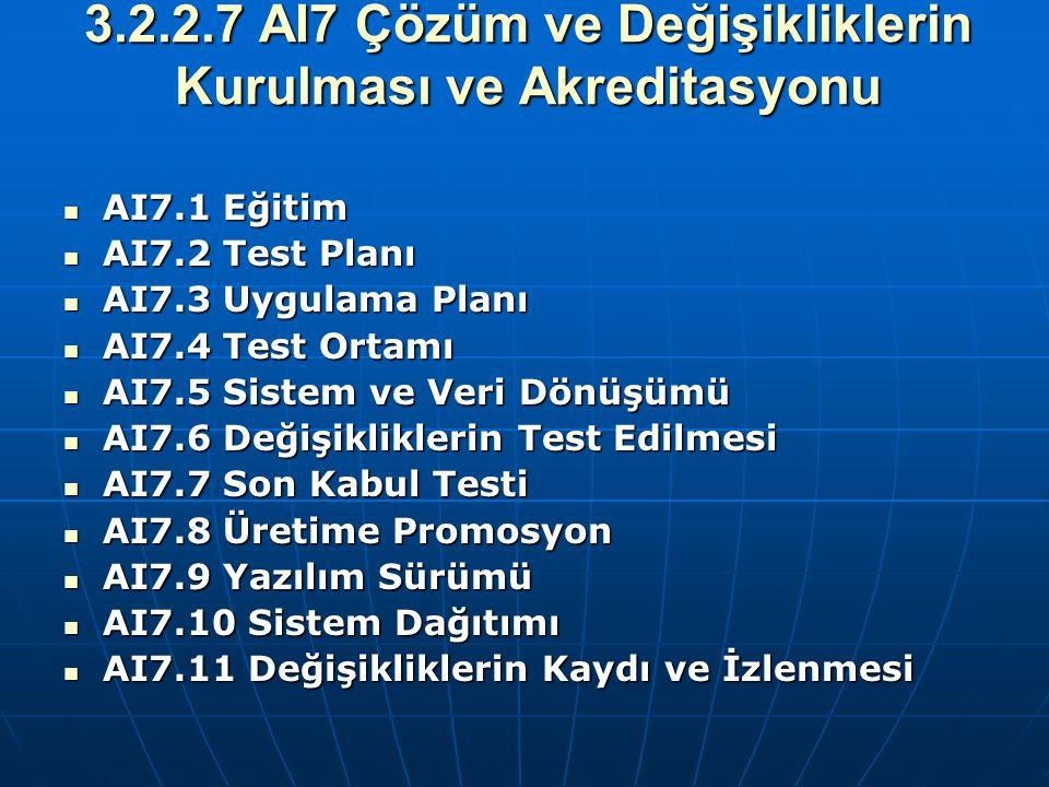 3.2.2.7 AI7 Çözüm ve Değişikliklerin Kurulması ve Akreditasyonu AI7.1 Eğitim AI7.1 Eğitim AI7.2 Test Planı AI7.2 Test Planı AI7.3 Uygulama Planı AI7.3