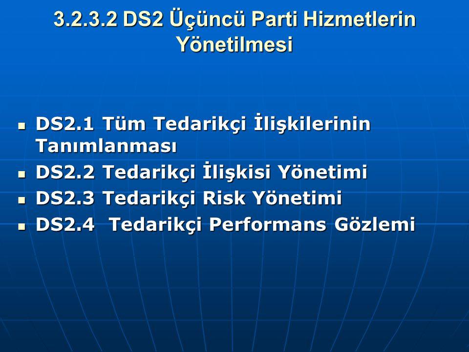 3.2.3.2 DS2 Üçüncü Parti Hizmetlerin Yönetilmesi DS2.1 Tüm Tedarikçi İlişkilerinin Tanımlanması DS2.1 Tüm Tedarikçi İlişkilerinin Tanımlanması DS2.2 T