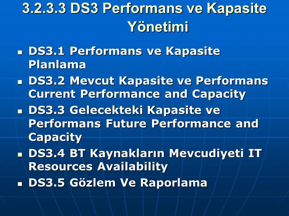 3.2.3.3 DS3 Performans ve Kapasite Yönetimi DS3.1 Performans ve Kapasite Planlama DS3.1 Performans ve Kapasite Planlama DS3.2 Mevcut Kapasite ve Perfo