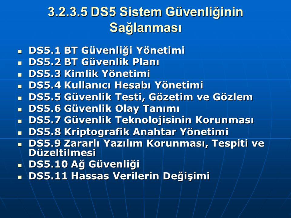 3.2.3.5 DS5 Sistem Güvenliğinin Sağlanması DS5.1 BT Güvenliği Yönetimi DS5.1 BT Güvenliği Yönetimi DS5.2 BT Güvenlik Planı DS5.2 BT Güvenlik Planı DS5