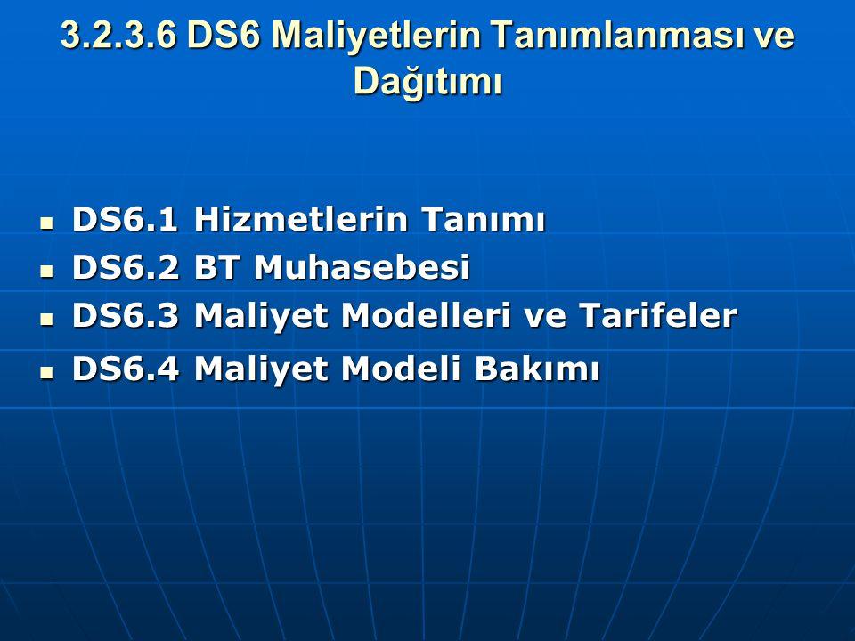 3.2.3.6 DS6 Maliyetlerin Tanımlanması ve Dağıtımı DS6.1 Hizmetlerin Tanımı DS6.1 Hizmetlerin Tanımı DS6.2 BT Muhasebesi DS6.2 BT Muhasebesi DS6.3 Mali