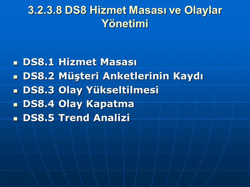 3.2.3.8 DS8 Hizmet Masası ve Olaylar Yönetimi DS8.1 Hizmet Masası DS8.1 Hizmet Masası DS8.2 Müşteri Anketlerinin Kaydı DS8.2 Müşteri Anketlerinin Kayd